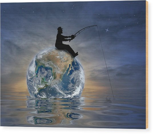 Fishing Is My World Wood Print