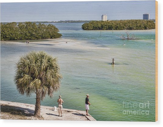 Fishing On Estero Bay Near Fort Myers Beach Florida Wood Print by William Kuta