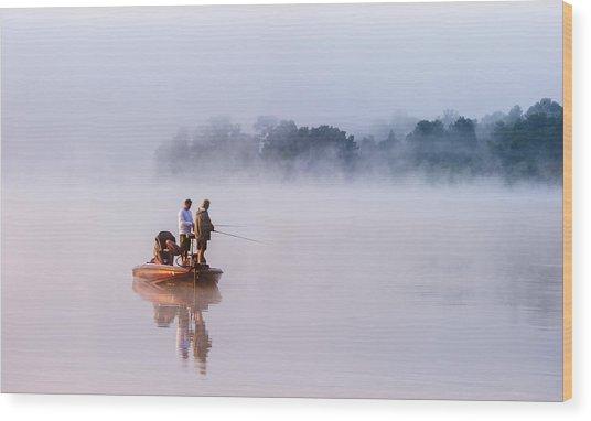 Fishing On Foggy Lake Wood Print