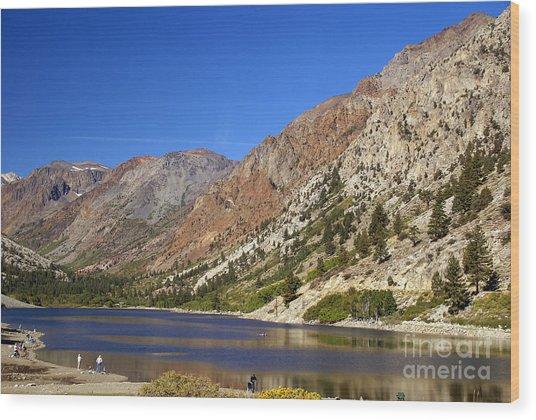 Fishing On Lundy Lake Wood Print