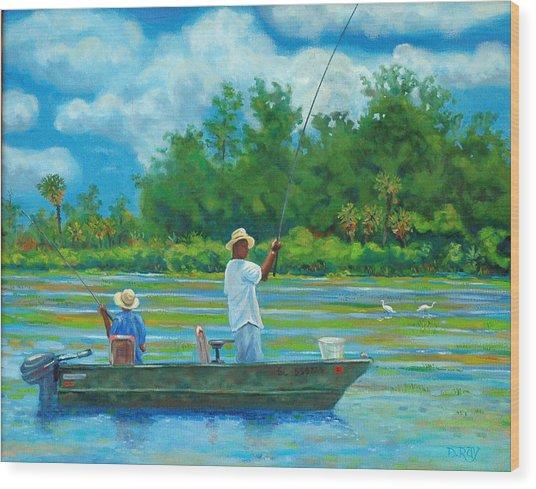Fishing On The Cooper Wood Print