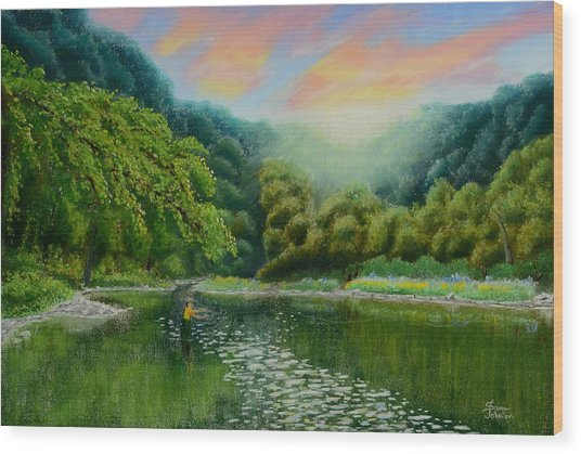 Fishing On The Dix Wood Print