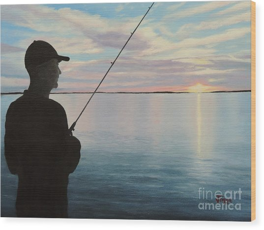 Fishing On The Flats Wood Print