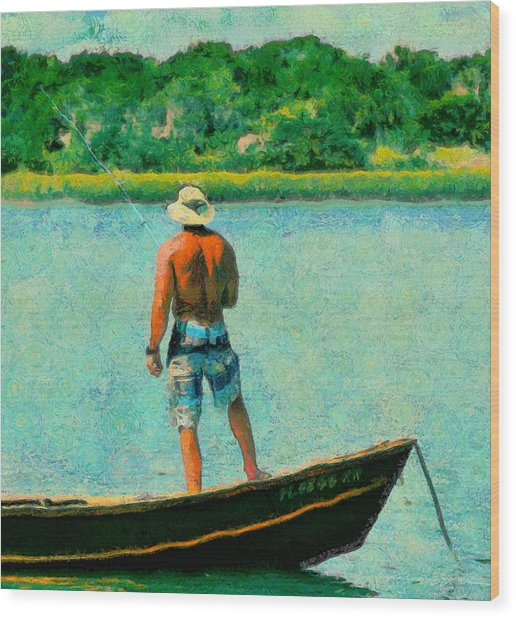 Fishing On The Matanzas Wood Print