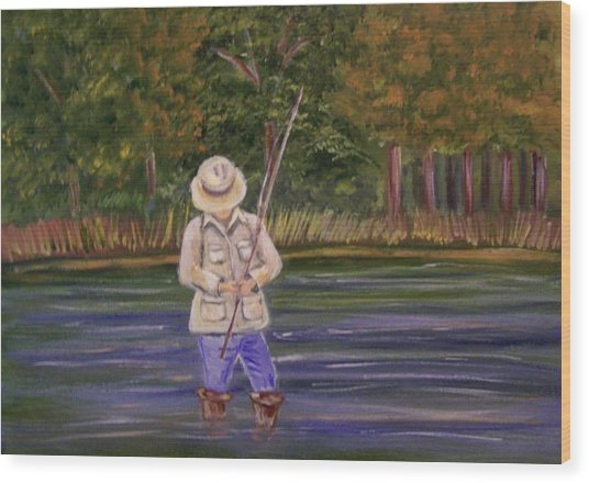 Fishing On The River Wood Print