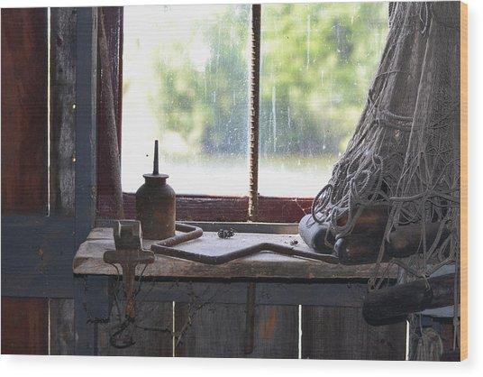 Fishing Shack 2 Wood Print by Bill Mock