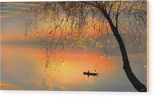 Fishing Sunset Wood Print by Igor Zenin