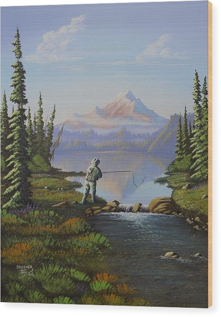 Fishing The High Lakes Wood Print