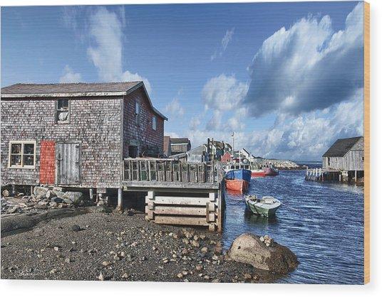 Fishing Town Wood Print by Renee Sullivan