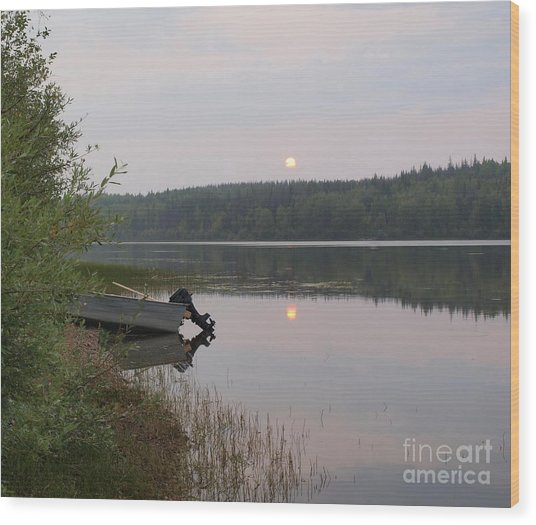 Fishing Tranquility Wood Print