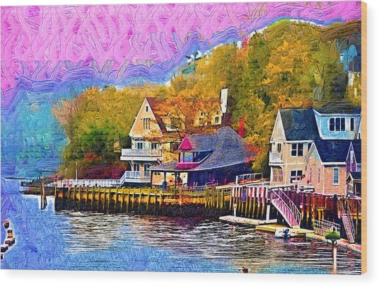 Fishing Village Wood Print