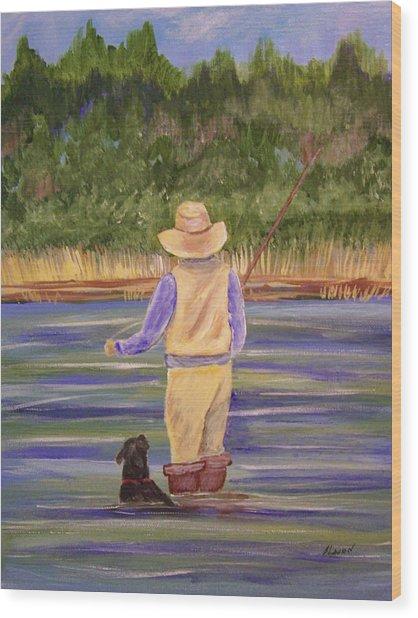 Fishing With Dog Wood Print