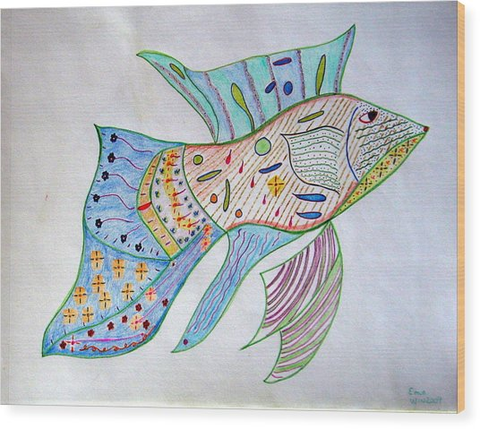 Fishstiqueart 2009 Wood Print by Elmer Baez