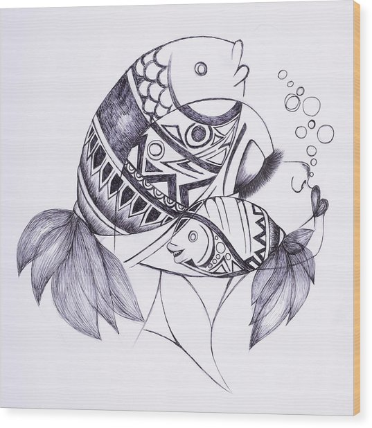 Fishy Wood Print by Chibuzor Ejims