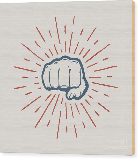 Fist With Sunbursts In Vintage Style Wood Print