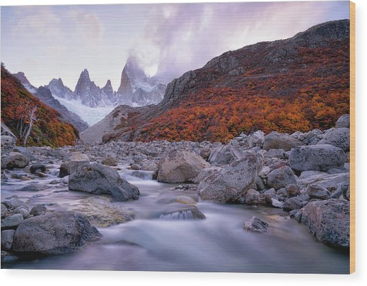Fitz Roy Under Twilight Wood Print