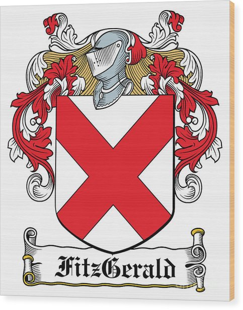 Fitzgerald Coat Of Arms Irish Wood Print by Heraldry