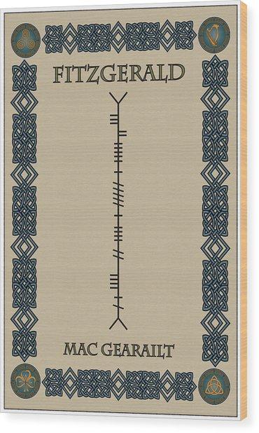 Fitzgerald Written In Ogham Wood Print