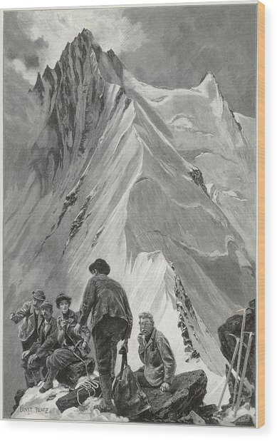 Five Climbers Contemplate The  Daunting Wood Print by Mary Evans Picture Library