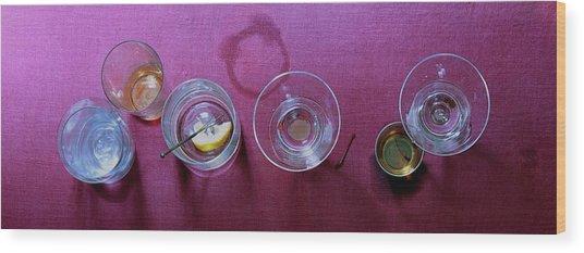 Five Cocktails Wood Print