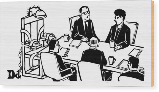 Five Executives Sit Around A Conference Table Wood Print