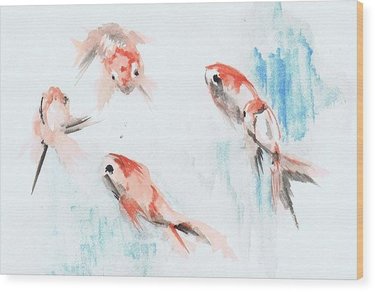 Five Goldfish Wood Print