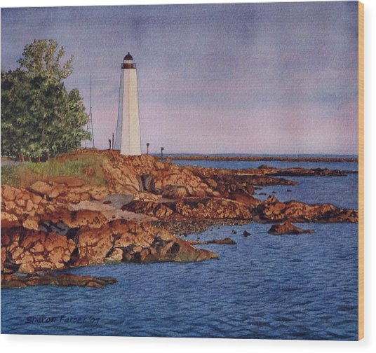 Five Mile Point Lighthouse Wood Print by Sharon Farber