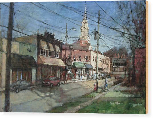 Five Points Evening Wood Print