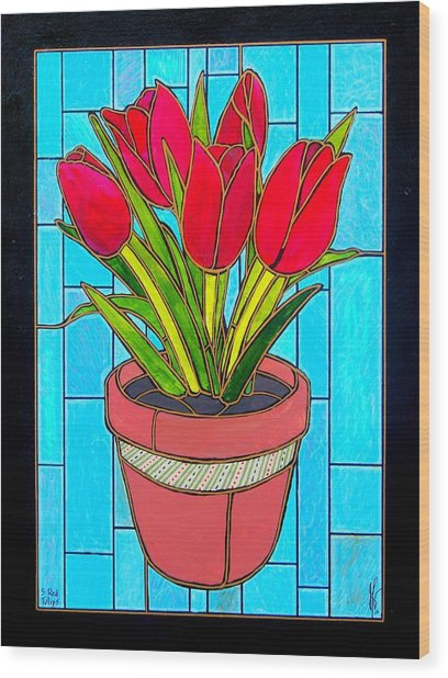 Five Red Tulips Wood Print