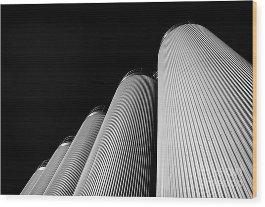 Five Silos In Black And White Wood Print