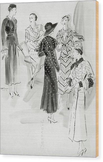 Five Women Wearing Chanel Wood Print by Rene Bouet-Willaumez