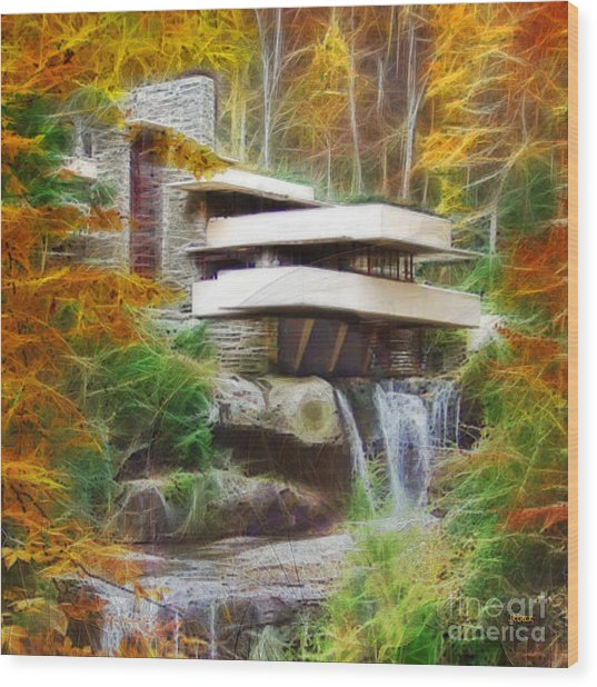 Fixer Upper - Square Version - Frank Lloyd Wright's Fallingwater Wood Print