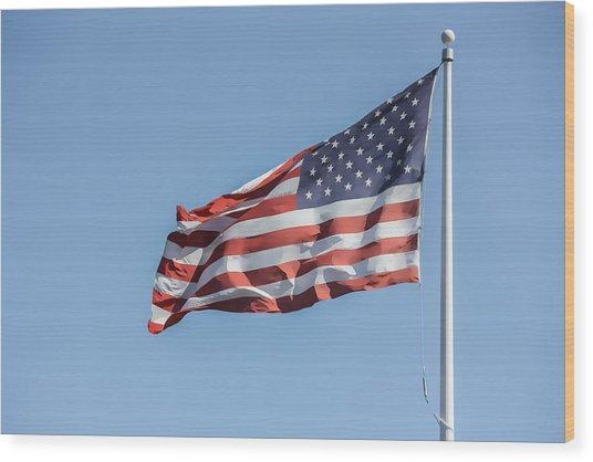 Flag And Blue Sky Wood Print