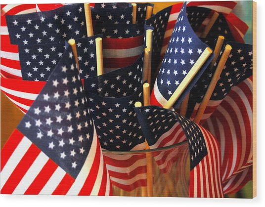 Flag Bouquet Wood Print by Mamie Gunning