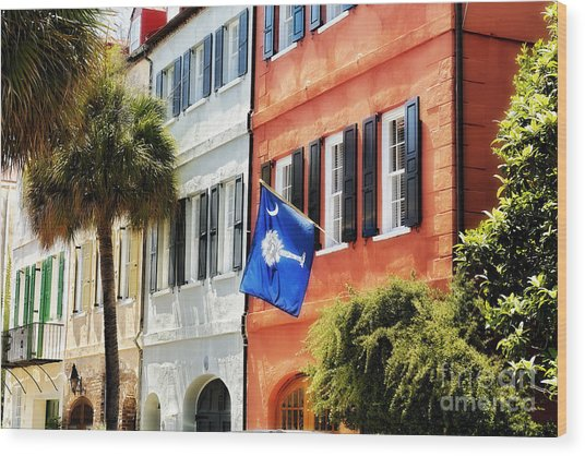 Flag Of Charleston With Palmetto And Crescent Moon Wood Print by George Oze