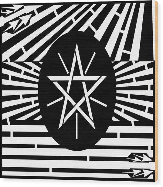 Flag Of Ethiopia Maze  Wood Print by Yonatan Frimer Maze Artist