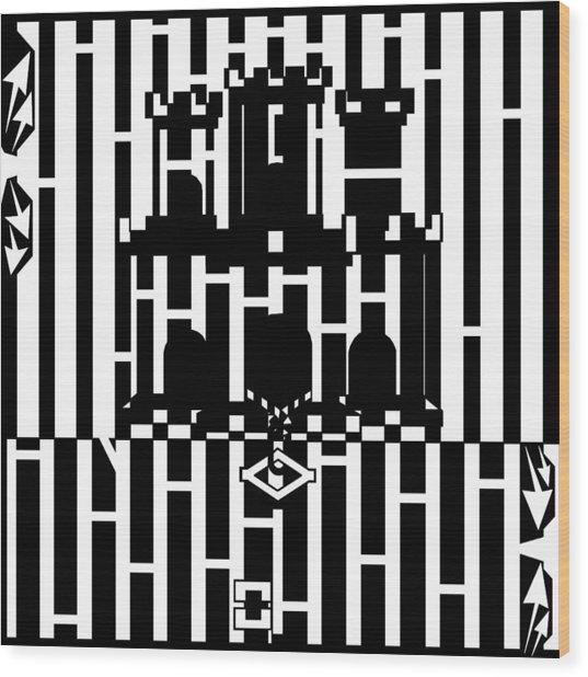 Flag Of Gibraltar Maze  Wood Print by Yonatan Frimer Maze Artist