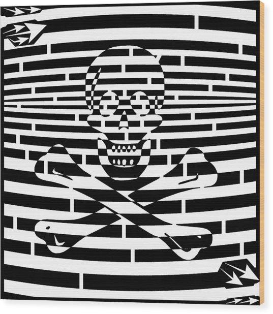 Flag Of Jolly Roger Maze Wood Print by Yonatan Frimer Maze Artist
