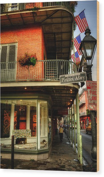 Flags And Street Lamp On Pirates Alley Wood Print