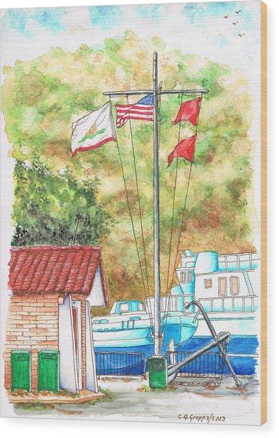Flags In San Luis Port,  Avila Beach, California Wood Print