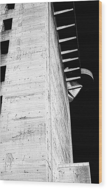 Wood Print featuring the photograph Flak Tower Vienna Side View by Menega Sabidussi