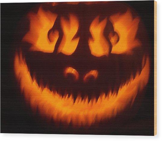 Flame Pumpkin Wood Print