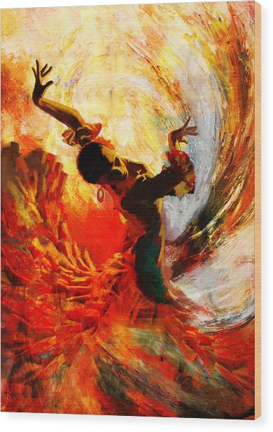 Flamenco Dancer 021 Wood Print