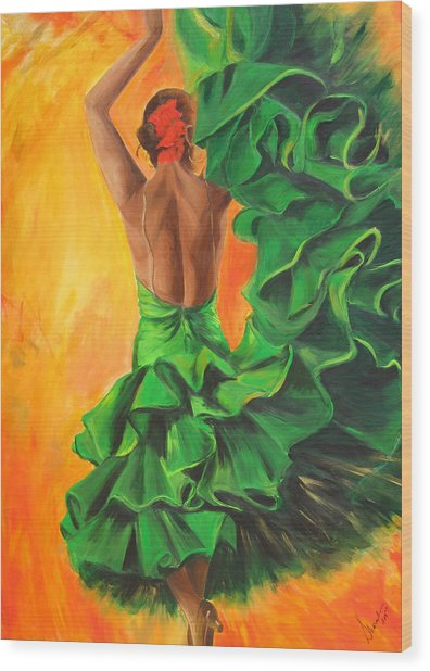 Flamenco Dancer In Green Dress Wood Print