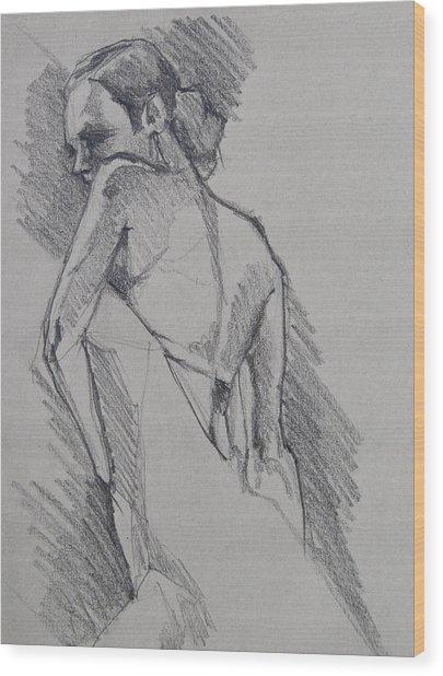 Flamenco Dancer Sketch Wood Print