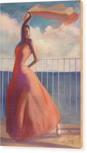 Flamenco Dancer Waving Scarf Wood Print