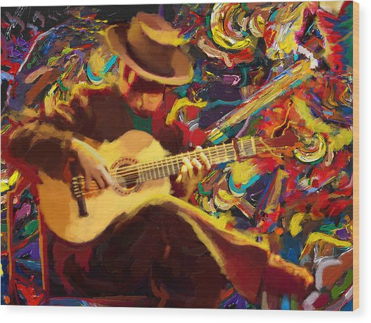 Flamenco Guitarist Wood Print