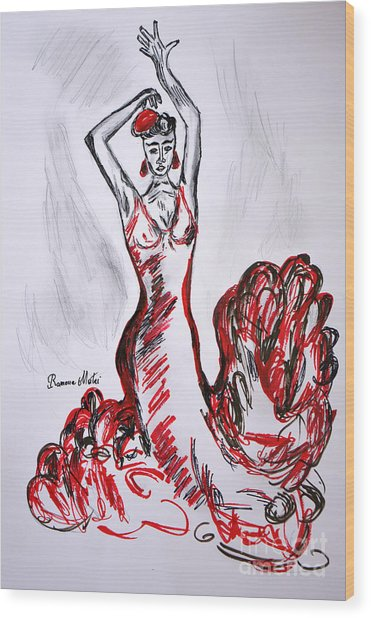Red Flamenco  Wood Print