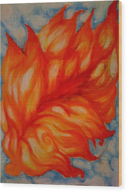 Flames Wood Print by Lydia Erickson