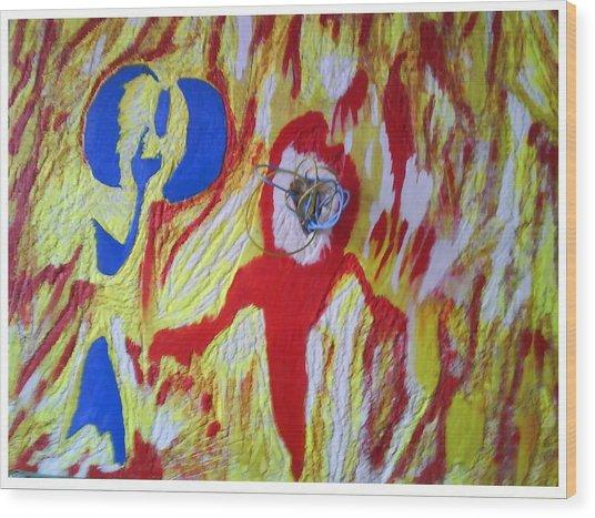 Flames Wood Print by Trevor R Plummer